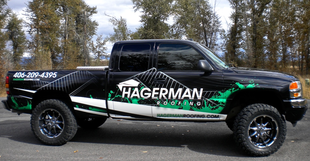 Roofing Vehicle Wrap : Hagerman roofing pickup truck wrap · scs wraps
