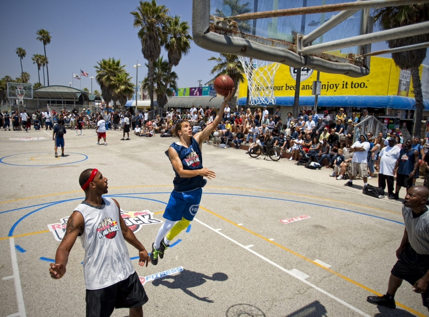 Basketball players in Venice Beach, CA, attempt to qualify for a