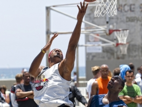 Basketball players in Venice Beach, CA, attempt to qualify for a spot in the Red Bull King of the Rock finals, to be held in September on Alcatraz Island in San Francisco, CA.