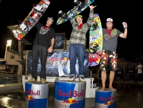 Kevin Henshaw (left), Nico Von Lerchenfeld (middle), and JD Webb (right) at the Red Bull Wake of Fame at the Fort Lauderdale Aquatic Complex.