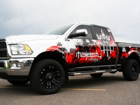 Majesty Riding Dodge truck wrap