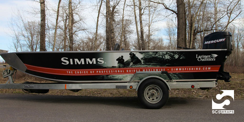 Simms fishing products boat wrap scs wraps for Fishing boat wraps