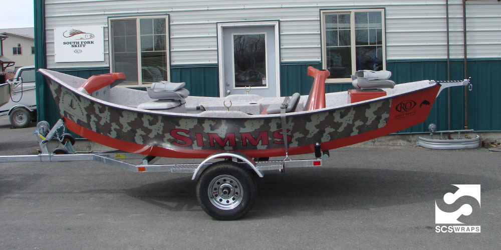Simms fishing products ro drift boat custom wrap · scs wraps