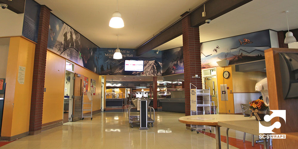 Cafeteria wall branding scs wraps for Dining hall wall design