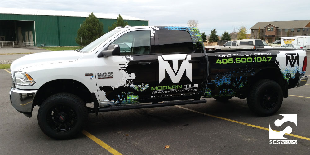 Modern Tile Transformations Truck Wrap SCS Wraps - Modern vehicle decals for business