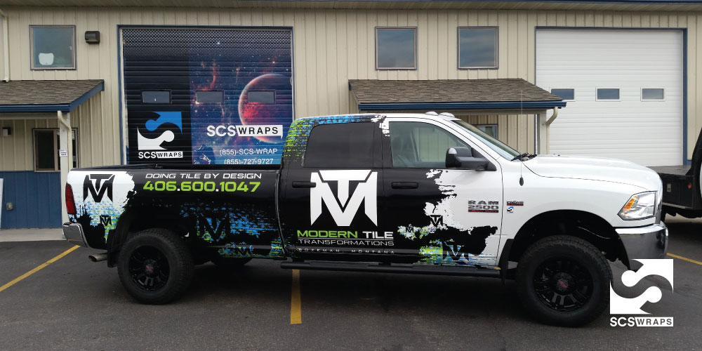 Modern Tile Transformations Truck Wrap SCS Wraps - Modern business vehicle decals
