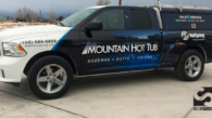 Mountain Hot Tub Pickup and Topper Vehicle Wrap